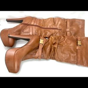 JESSICA SIMPSON Alster Tan Leather  Boots, Size 8